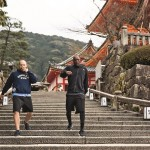 Idris Elba and trainer Kieran Keddle run together in Kyoto, Japan, on March 20, 2016.