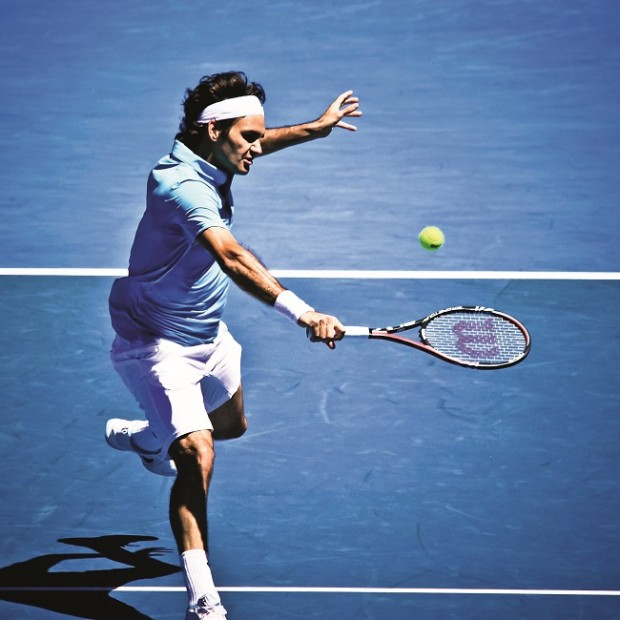 MELBOURNE, AUSTRALIA - JANUARY 25: Roger Federer inhis win over